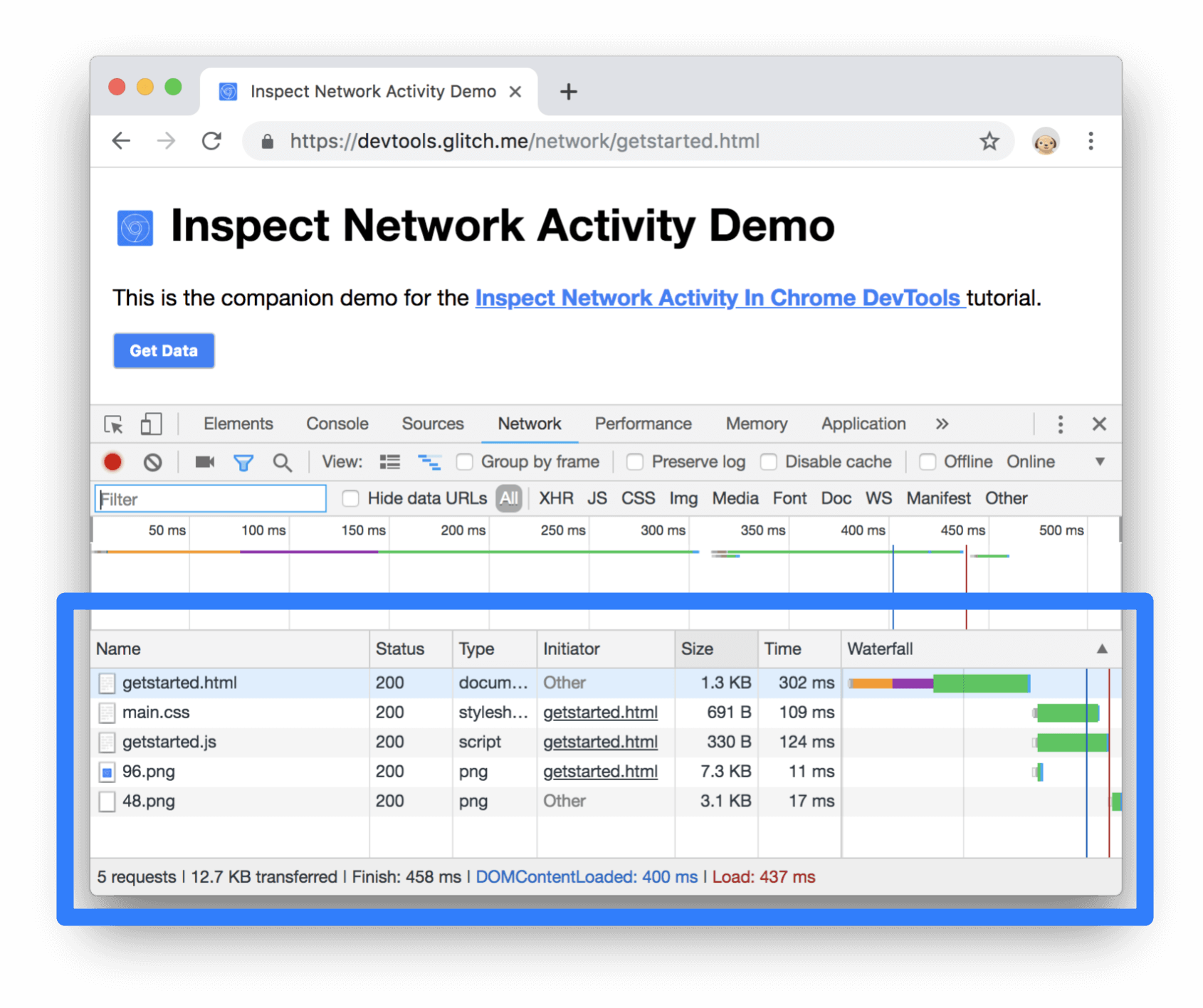 Page resources in the Network Log