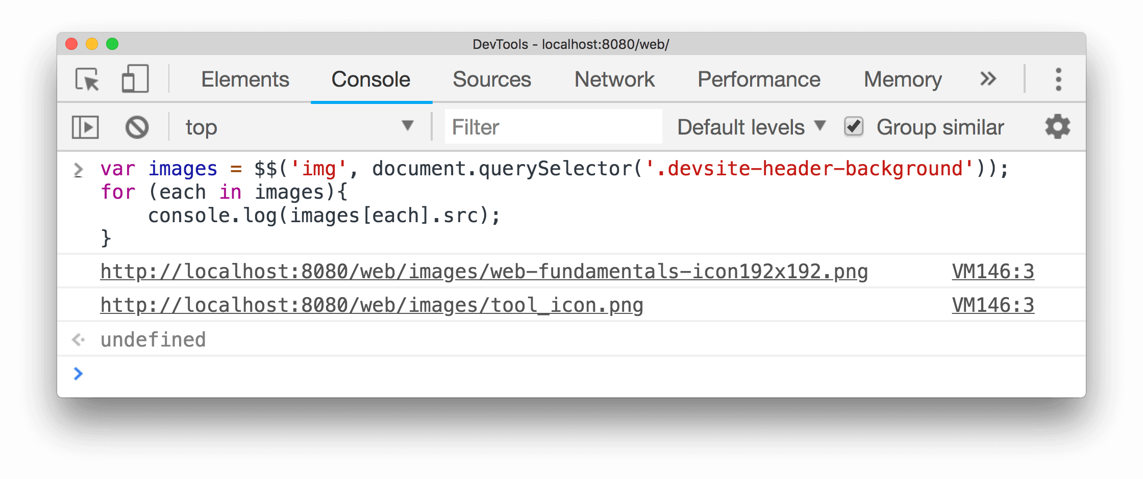 Example of using $() to select all images appearing after the select div element in the document and displaying their sources.