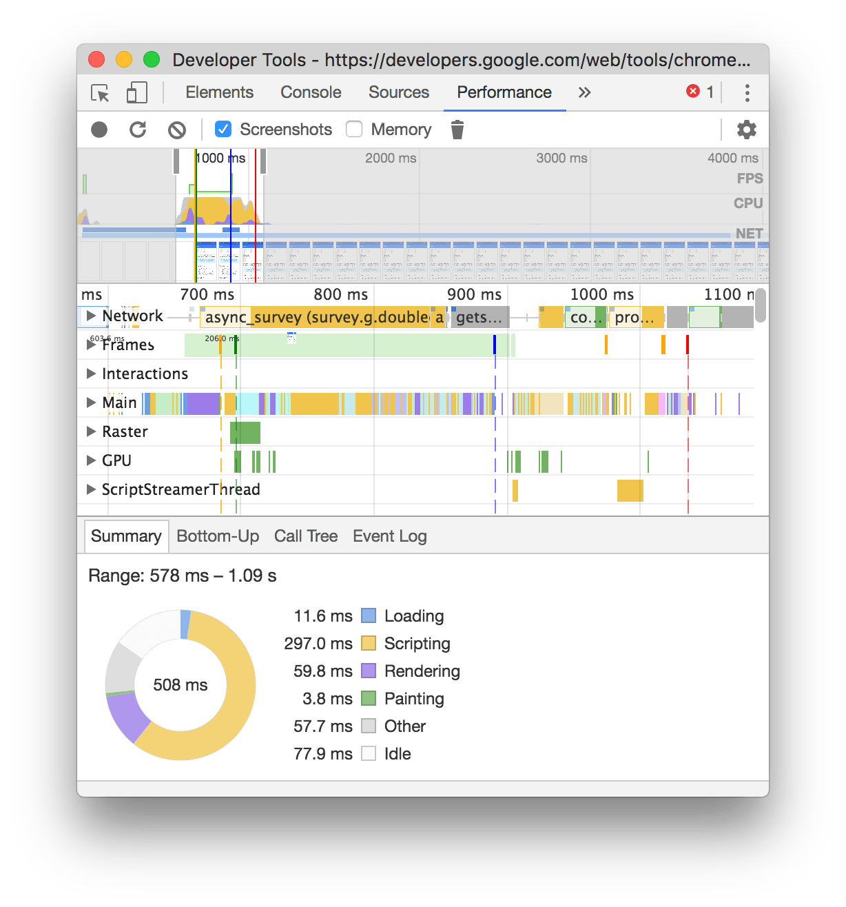 A page-load recording