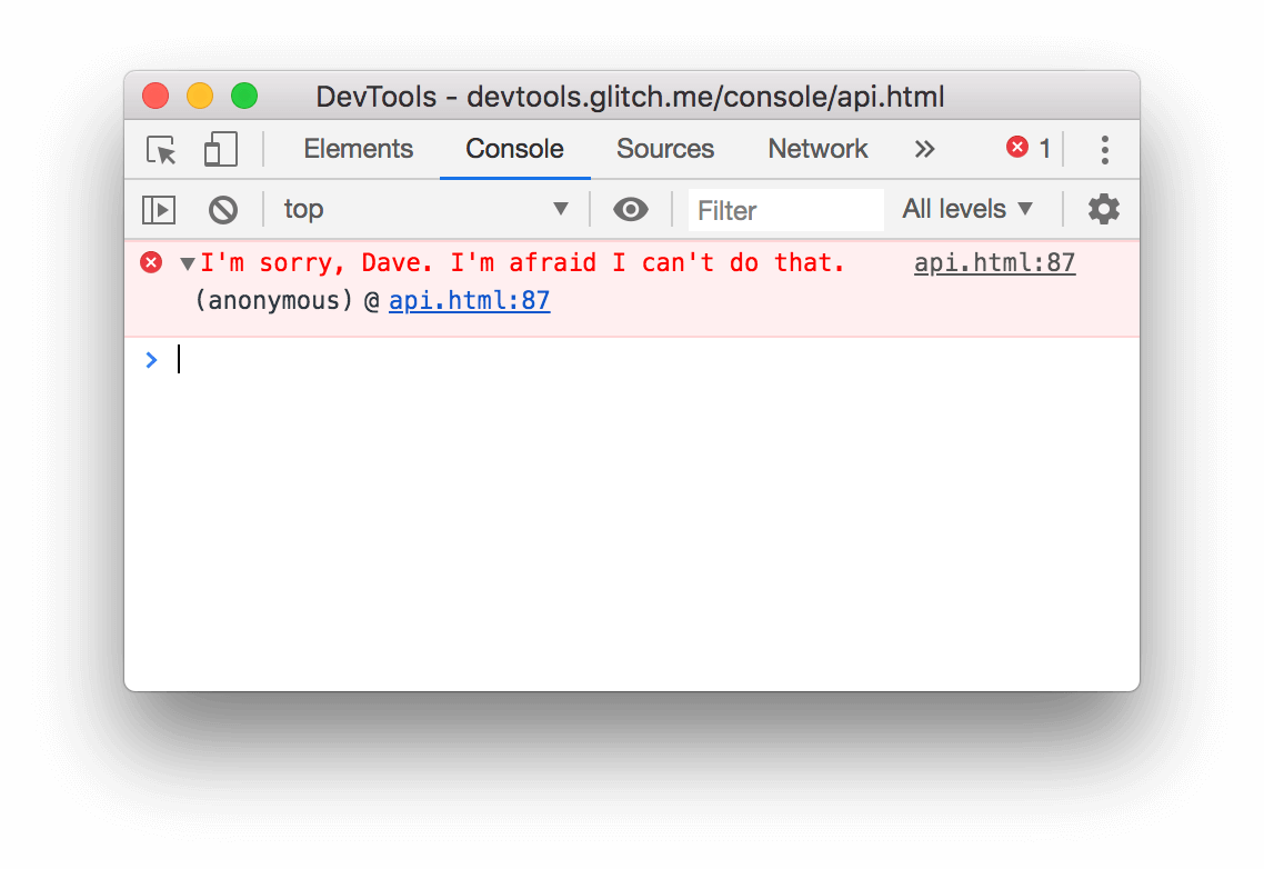 The result of the console.error() example above.