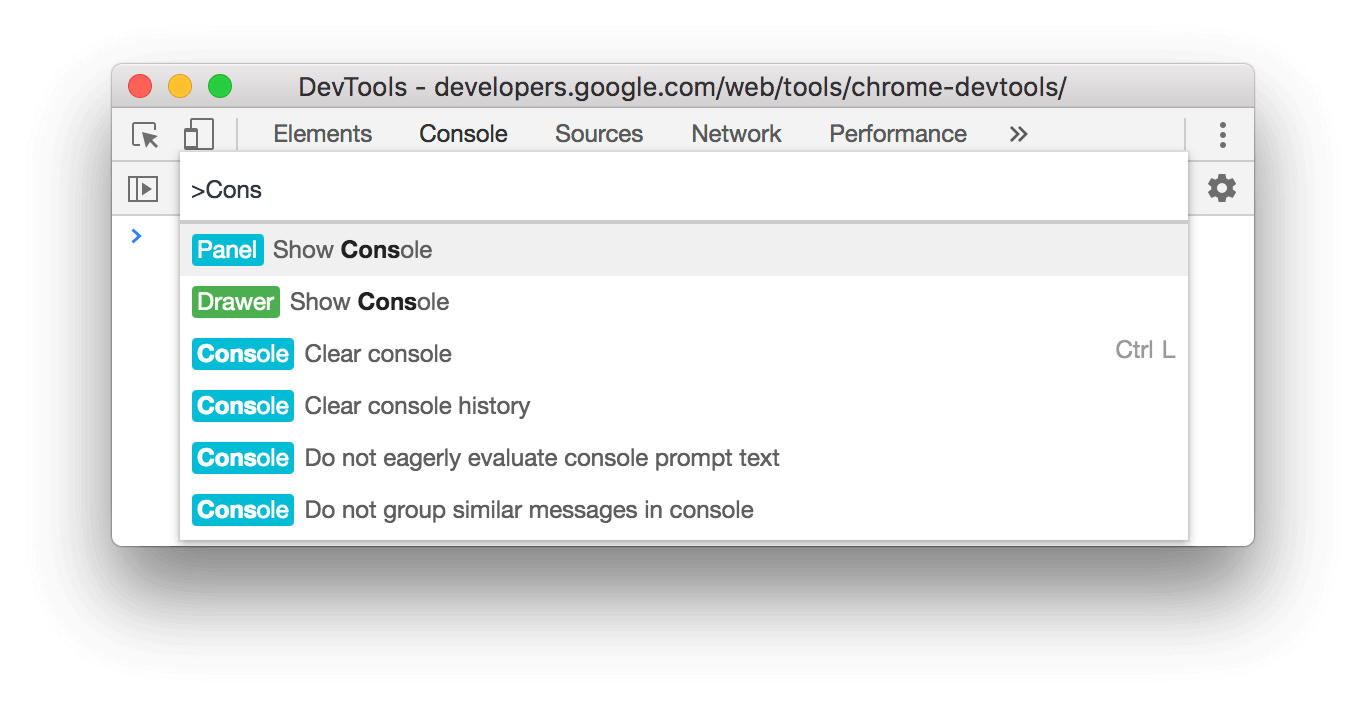 The command for showing the Console panel.