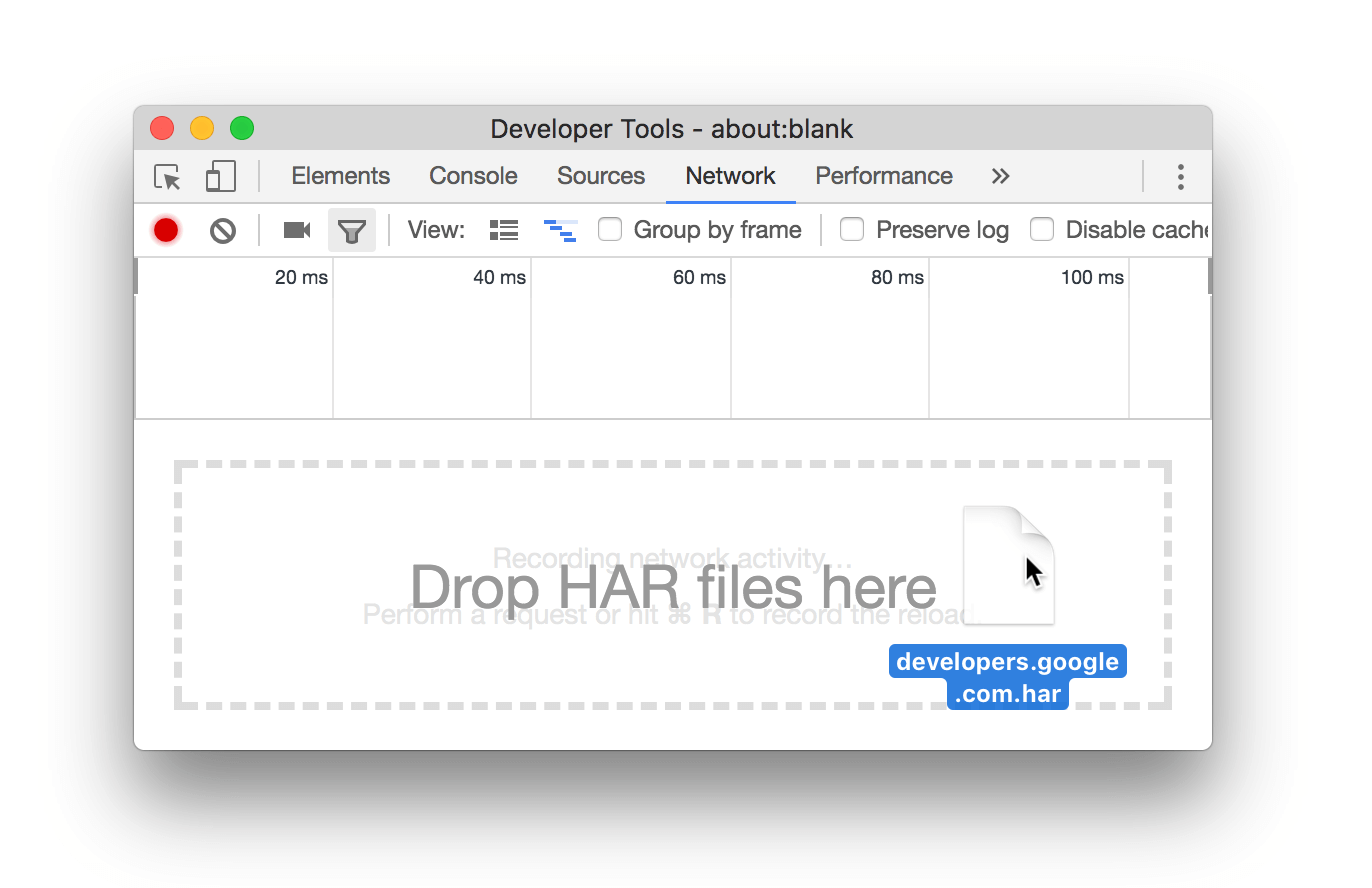 Importing a HAR file