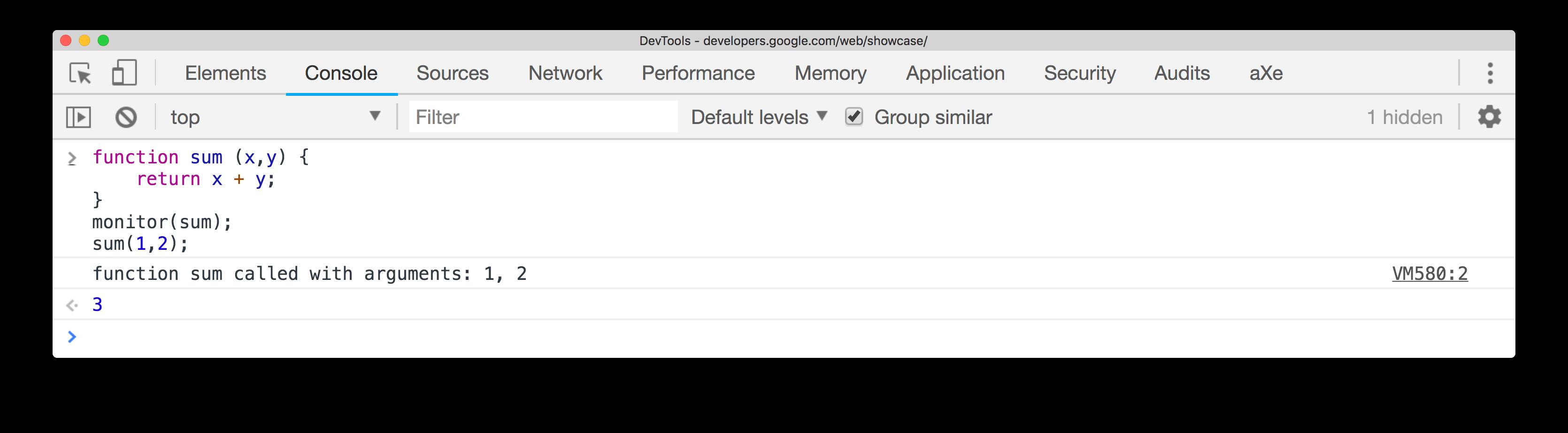 Example of monitor() method