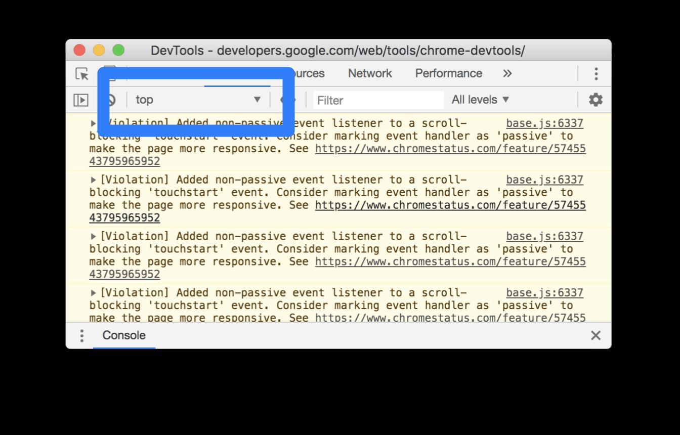 The JavaScript Context dropdown.