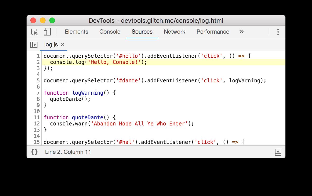 DevTools opens the Sources panel after you click log.js:2.