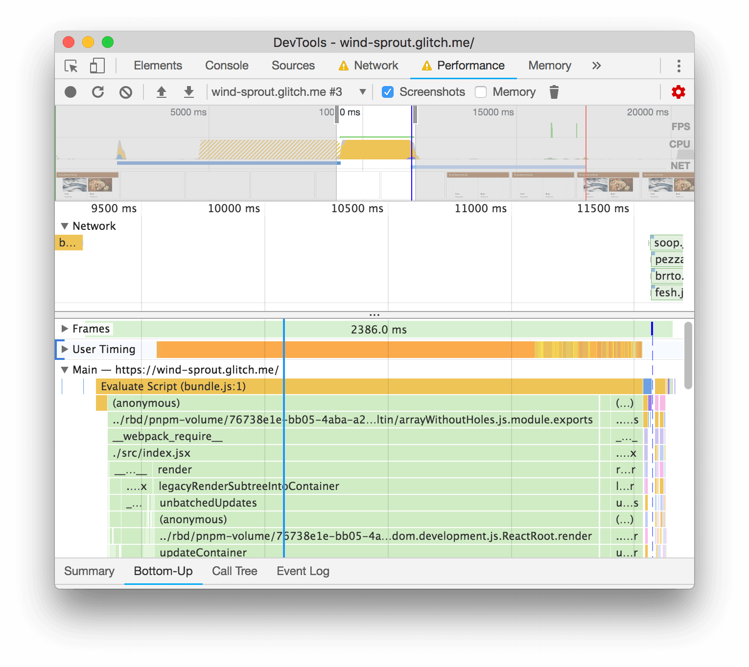 The Performance panel's trace of the page load.