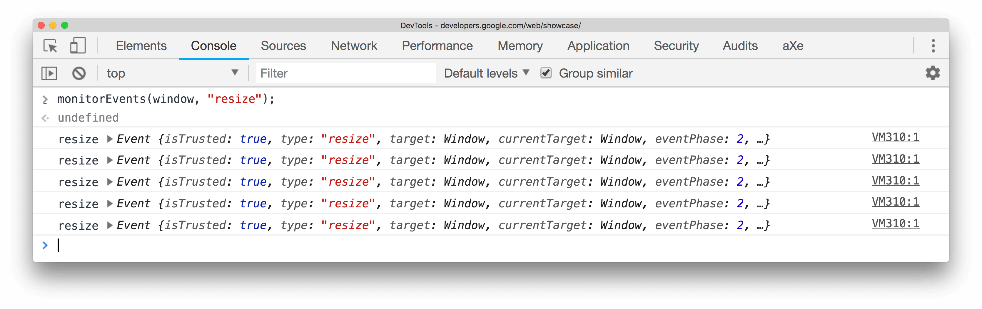Monitoring window resize events