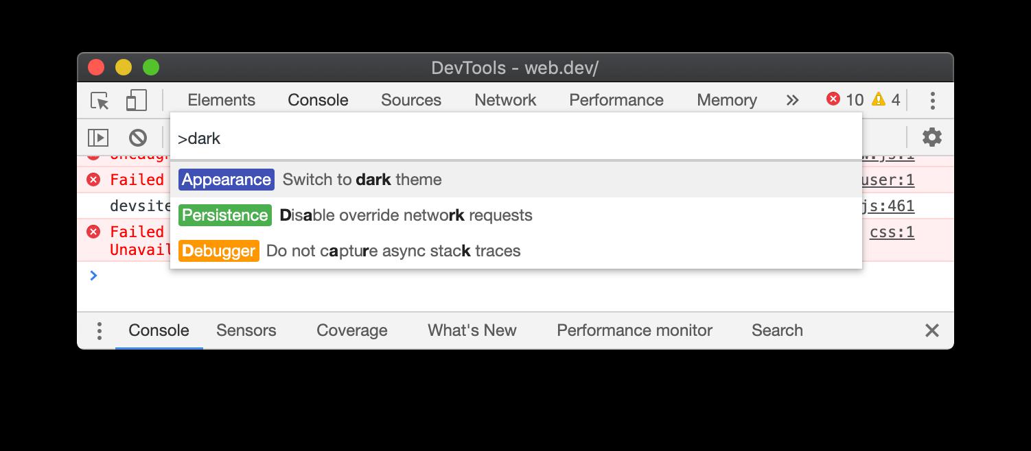 The dark theme command.
