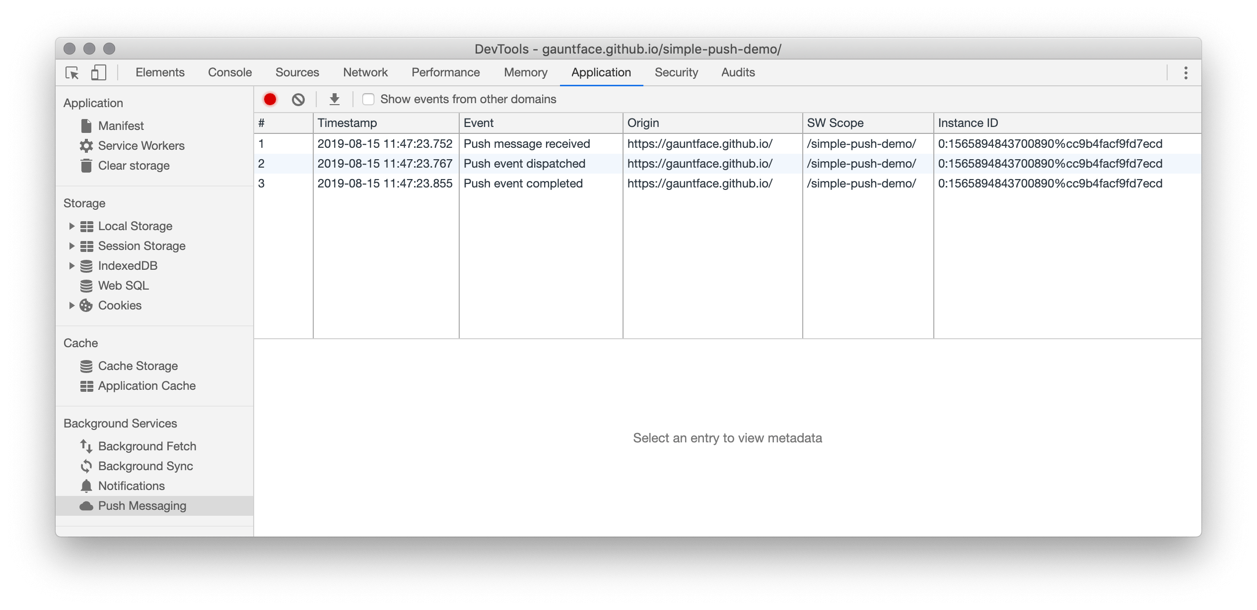 A log of events in the Push Messaging pane.