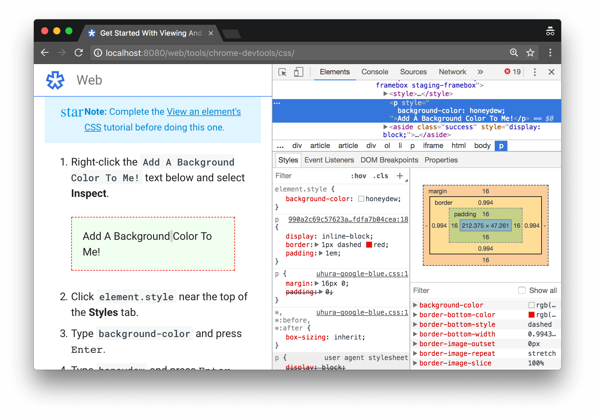 Adding a CSS declaration to the element via the Styles tab