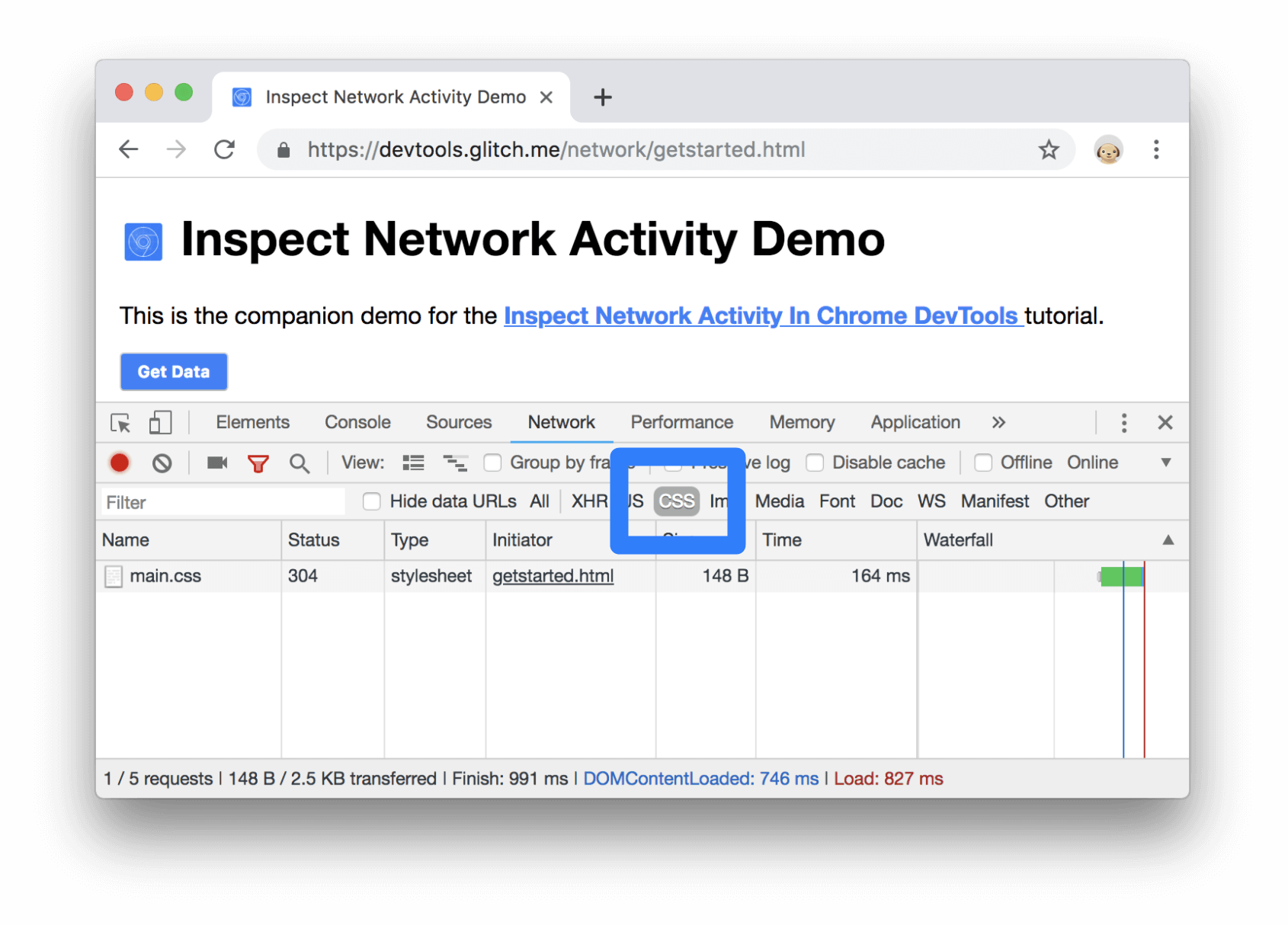 Filtering for CSS in the Network Log