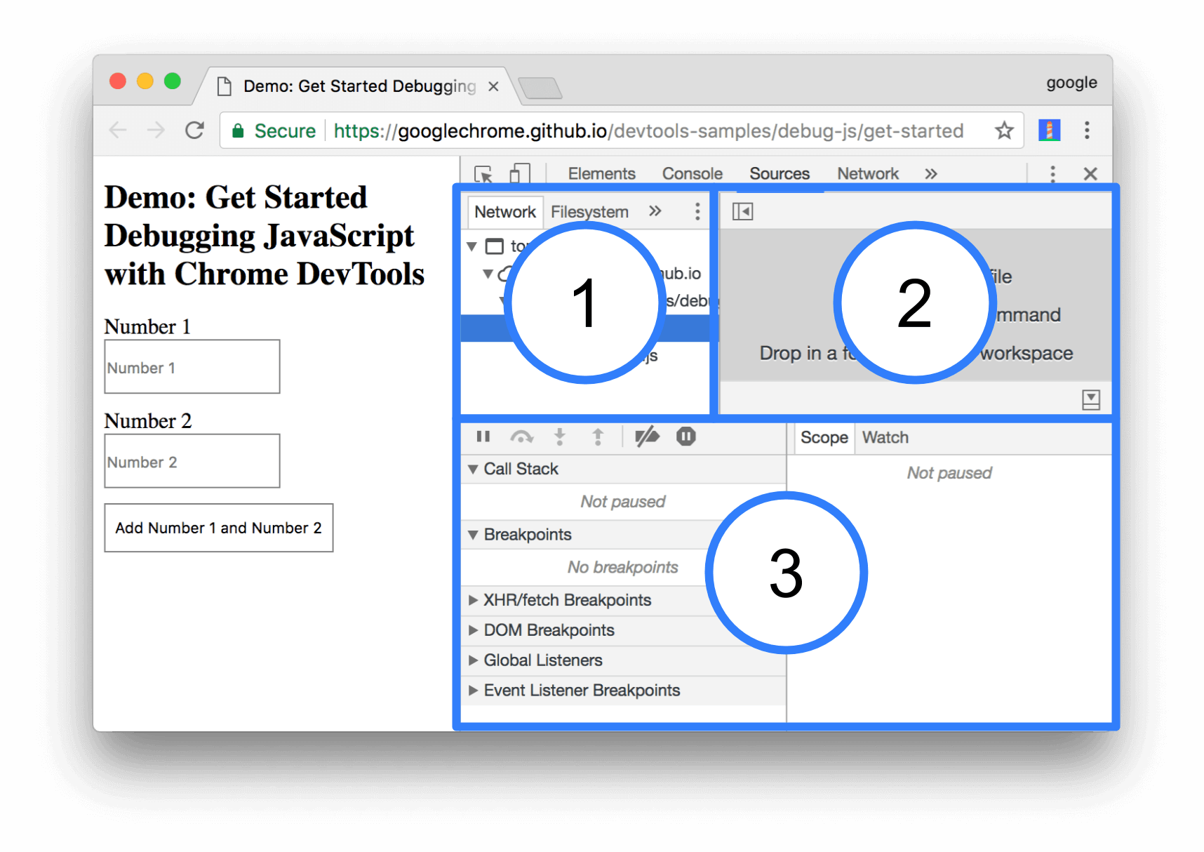 The 3 parts of the Sources panel UI.