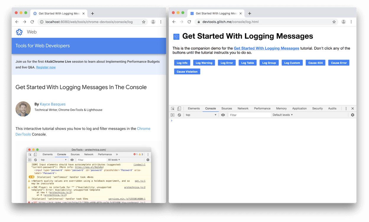 DevTools docked to the bottom of the demo.