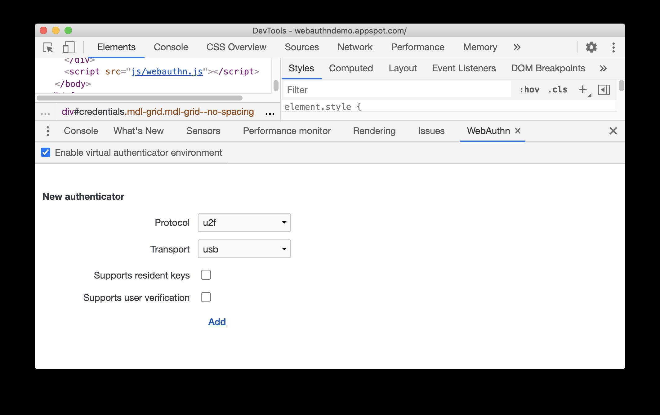 Enable virtual authenticator environment