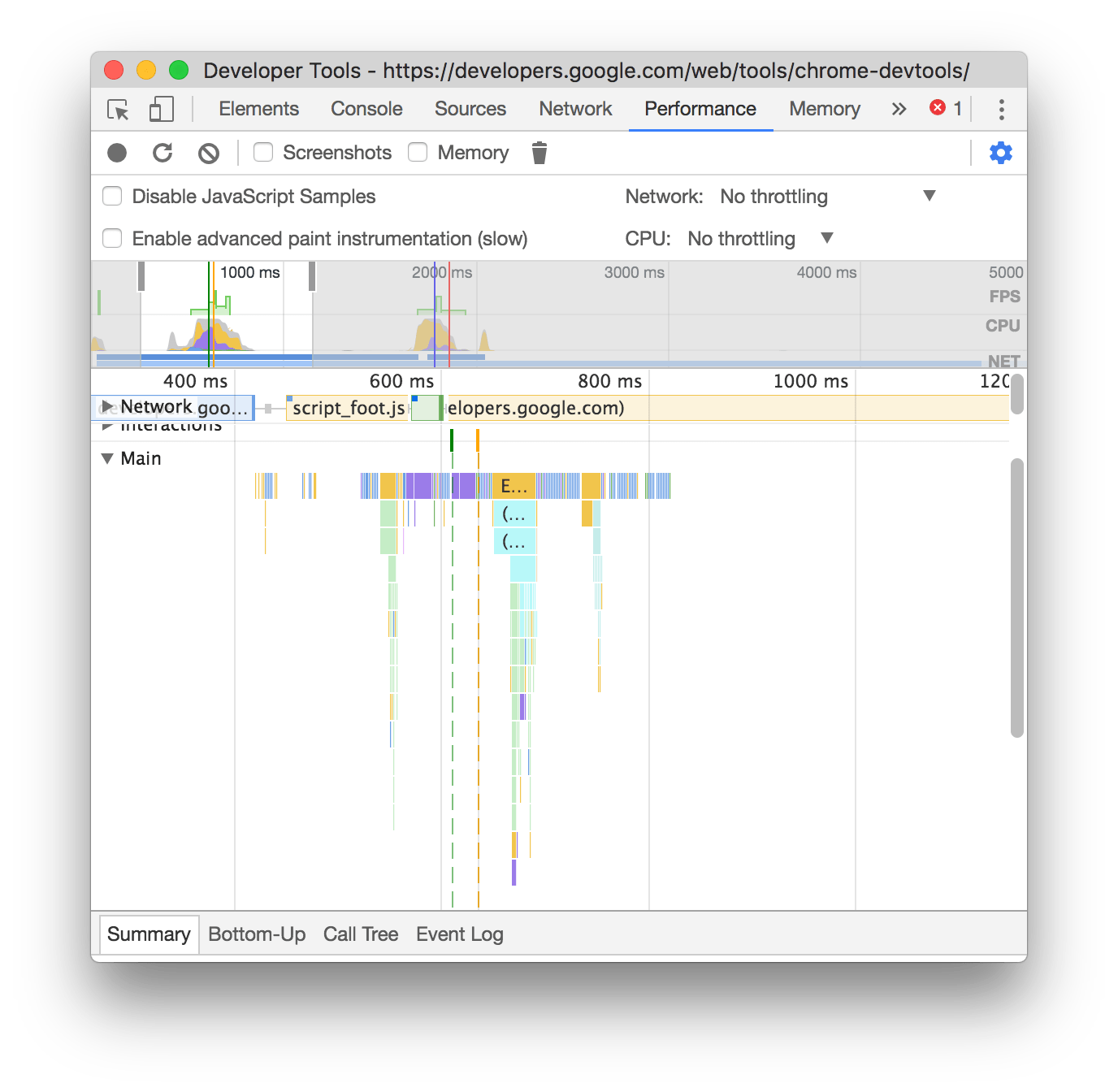 An example of a recording when JS samples are enabled
