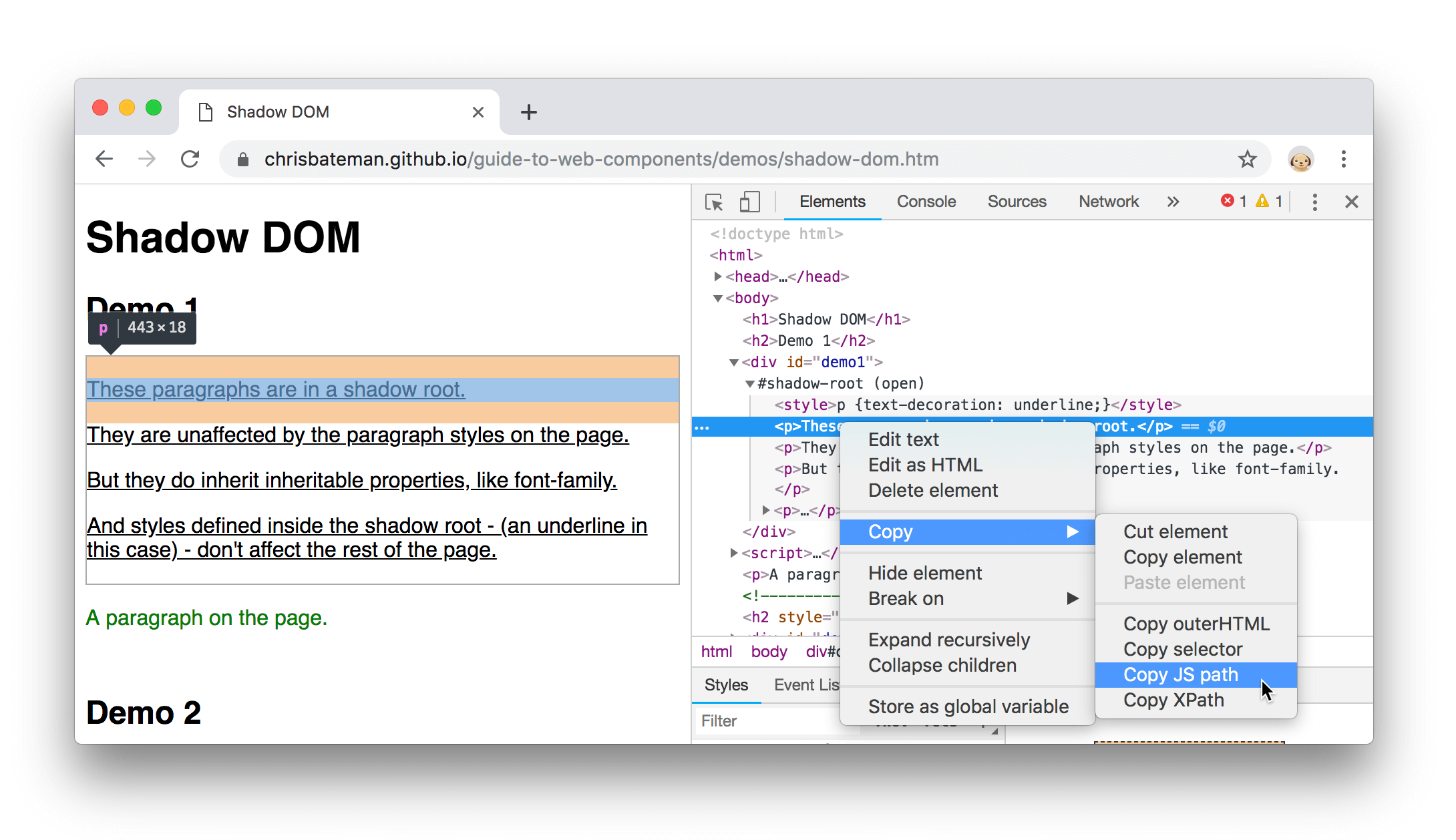 Copy JS path
