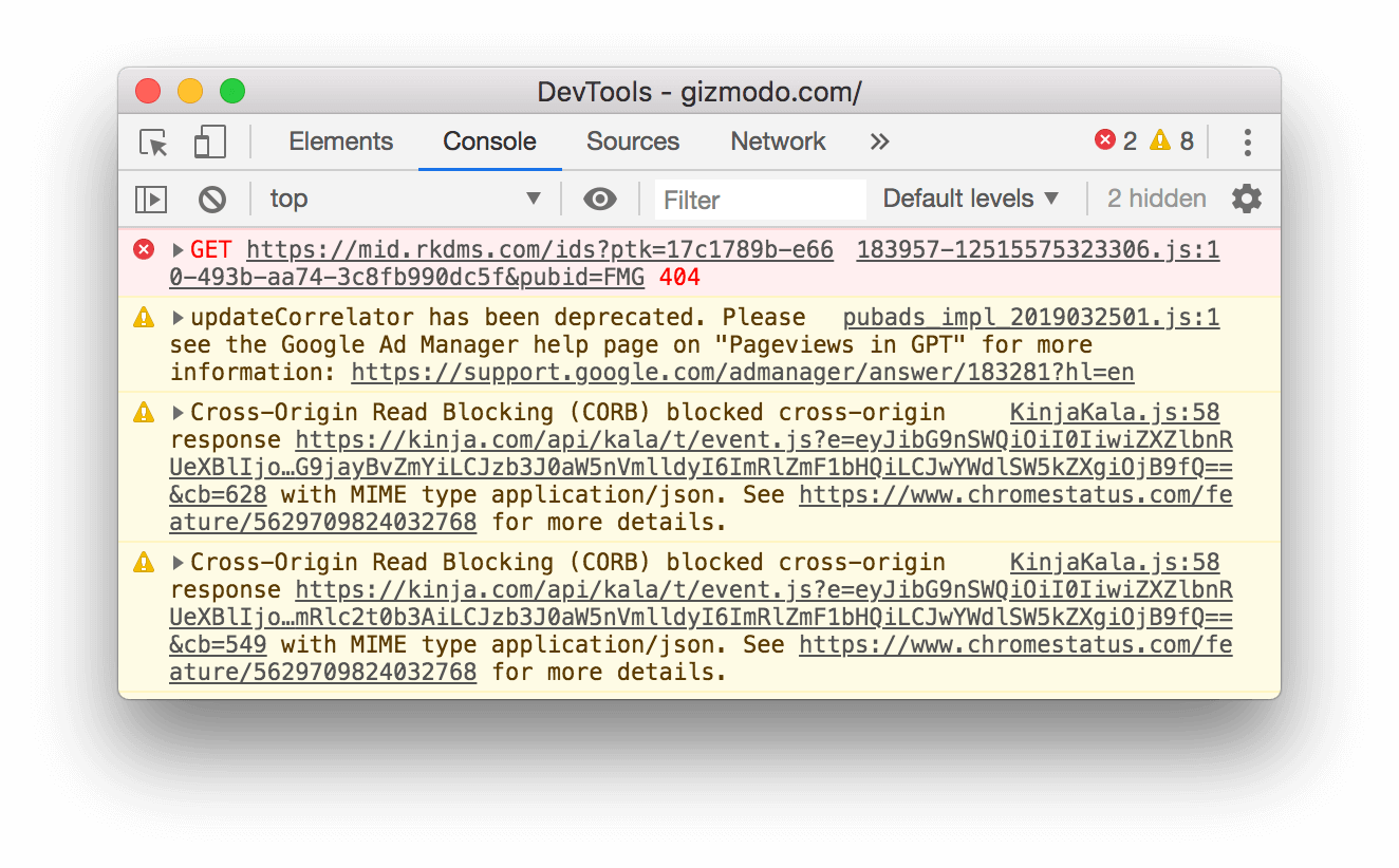 A 404 message in the Console.