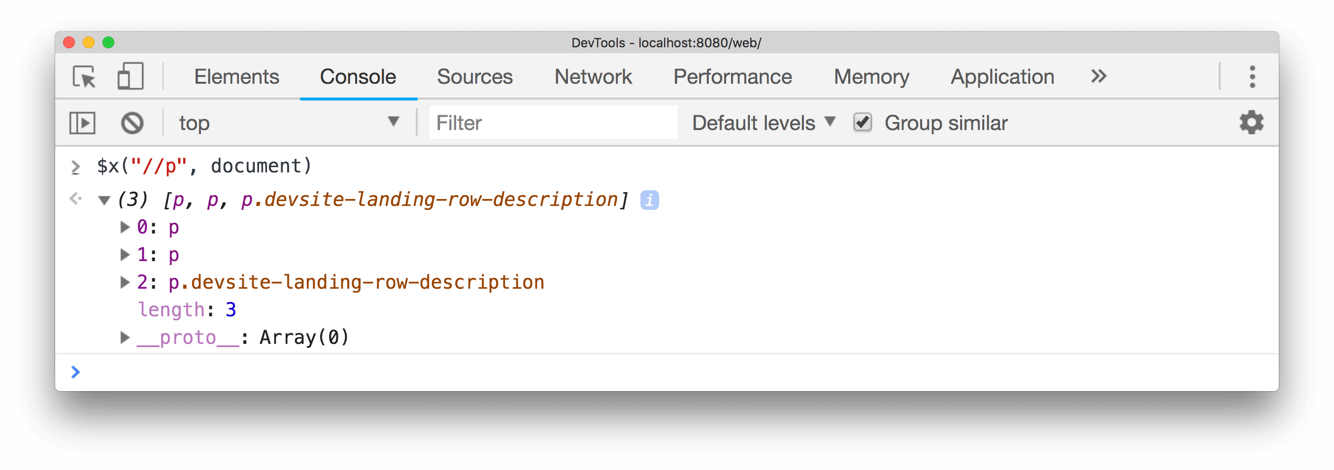 Example of using an XPath selector with startNode