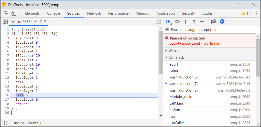 A screenshot of the previously limited WebAssembly debugging support in              Chrome DevTools.