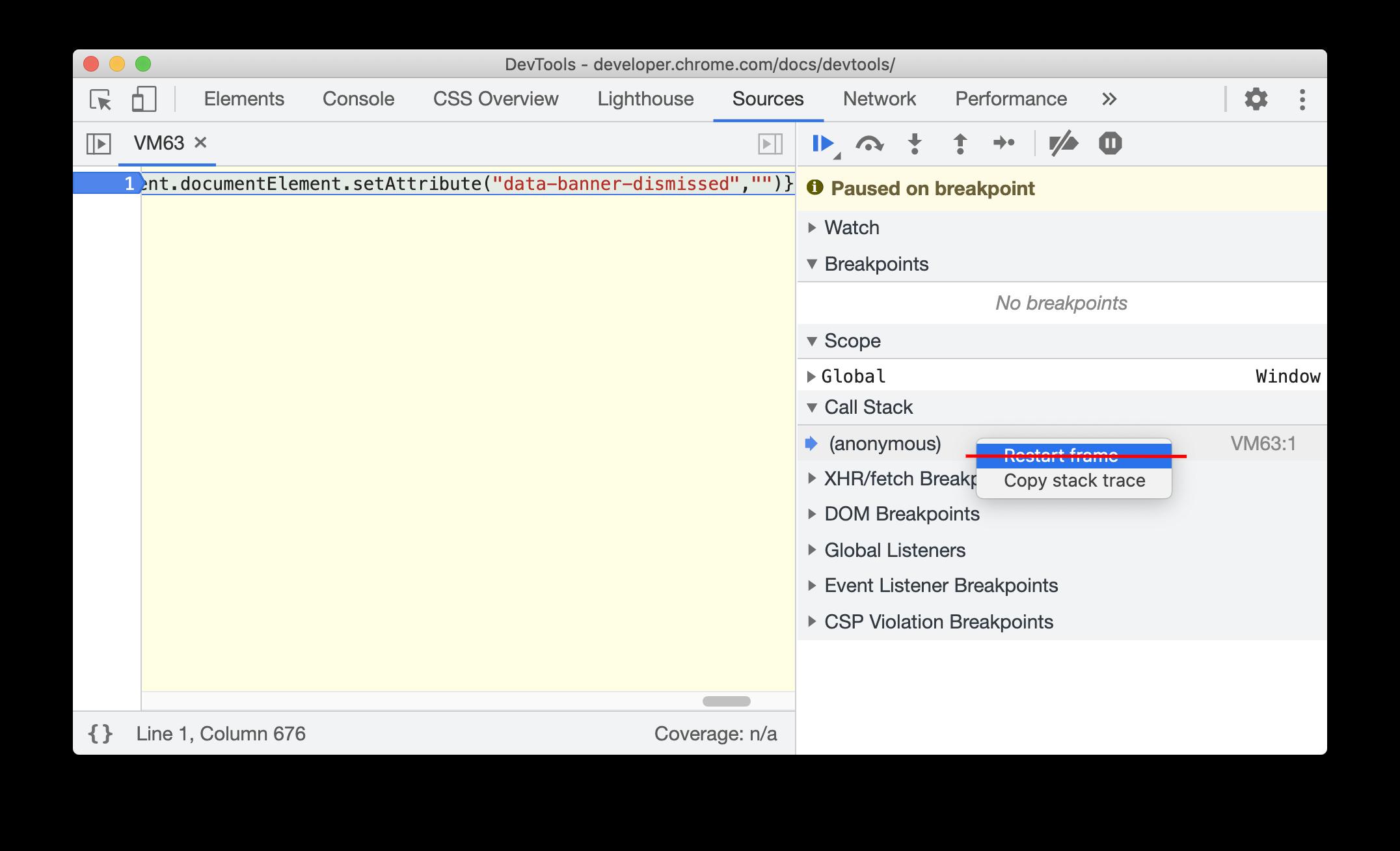Deprecated Restart frame context menu