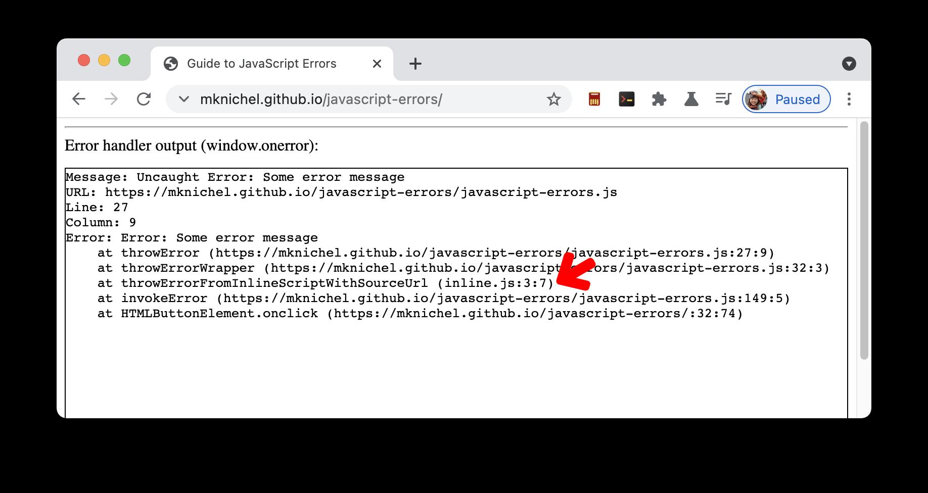 #sourceURL이 있는 인라인 스크립트에 대한 적절한 오류 스택 추적