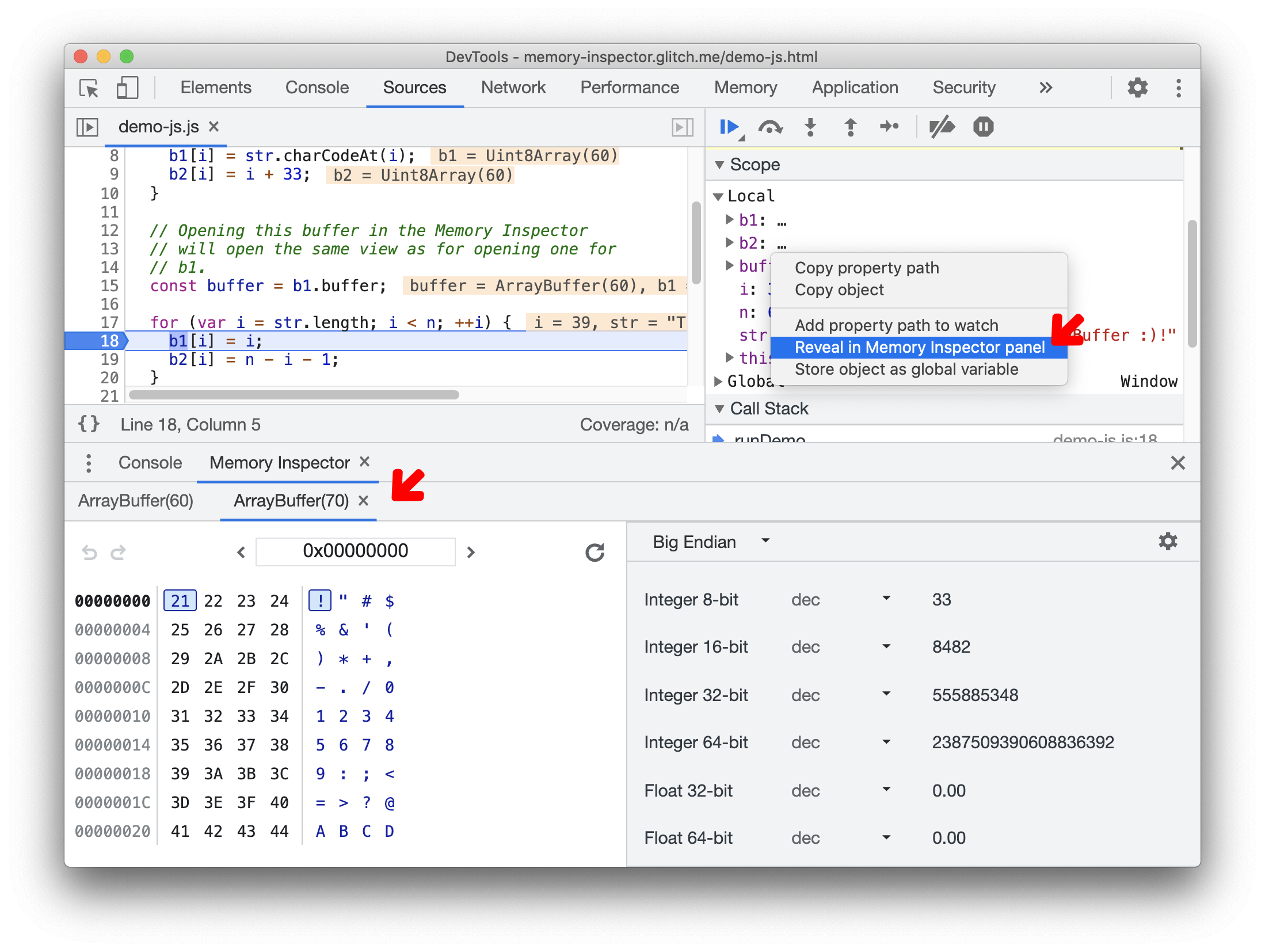 New tab in the Memory inspector