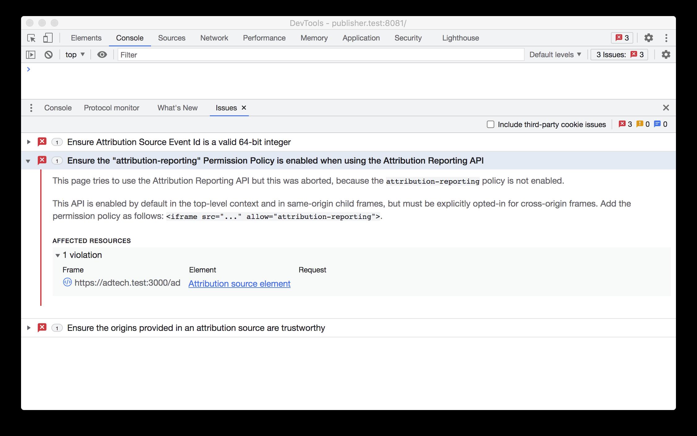 문제 탭의 속성 보고 API 오류