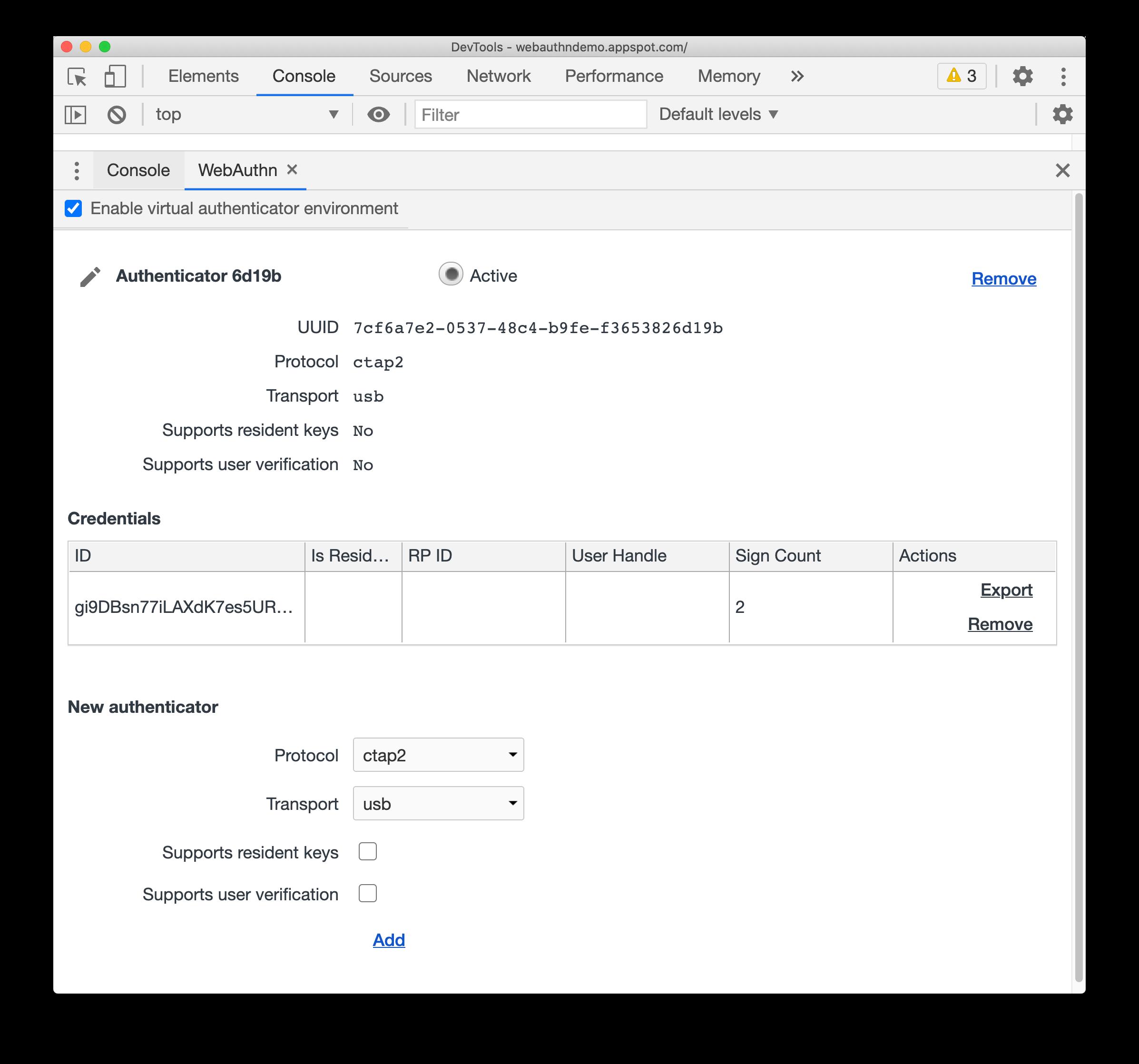 New WebAuthn tab