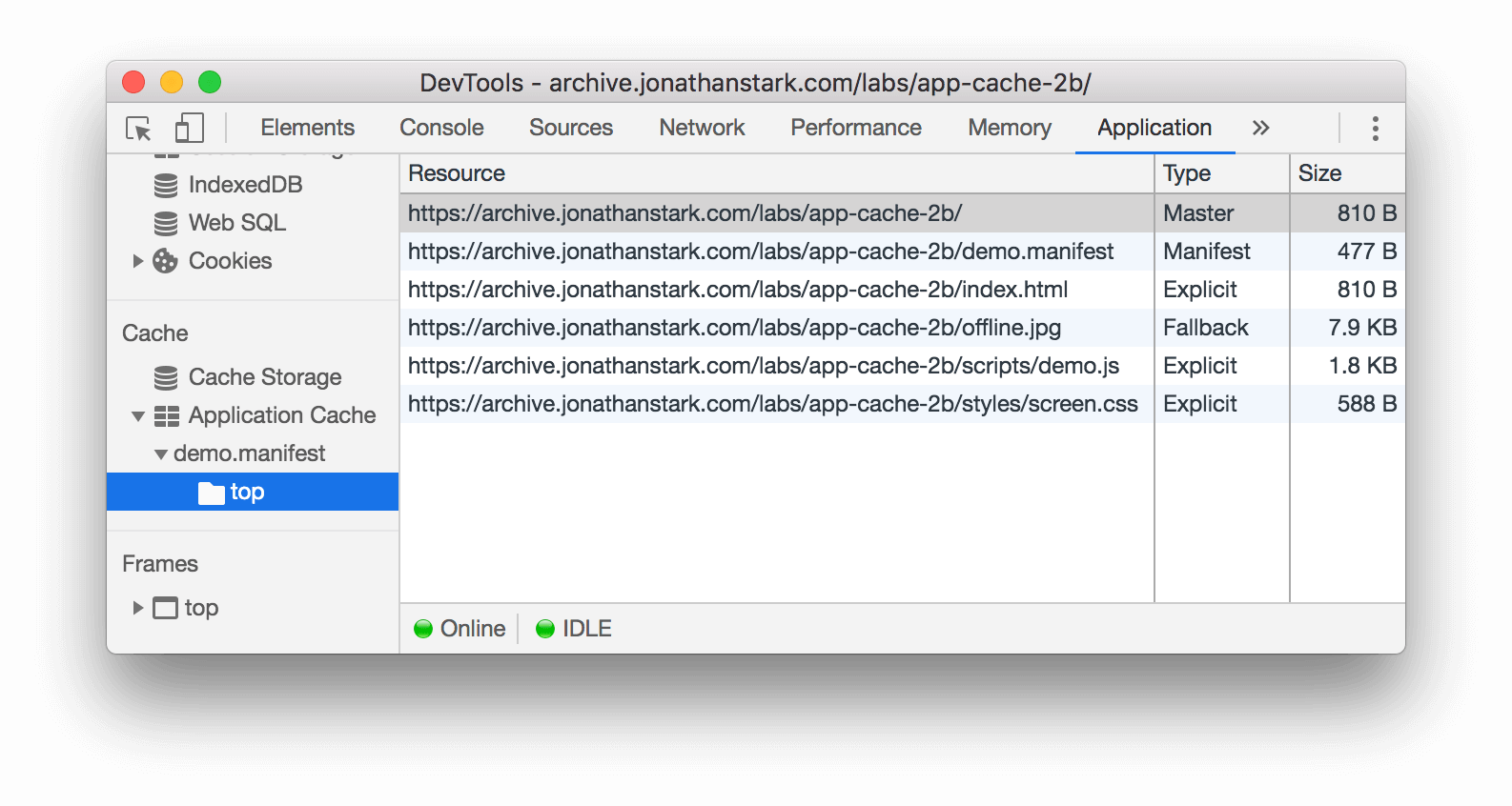 The Application Cache pane