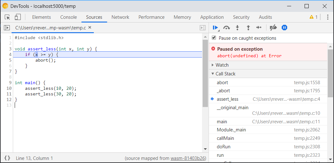 A screenshot of the source-maps-powered debugging.