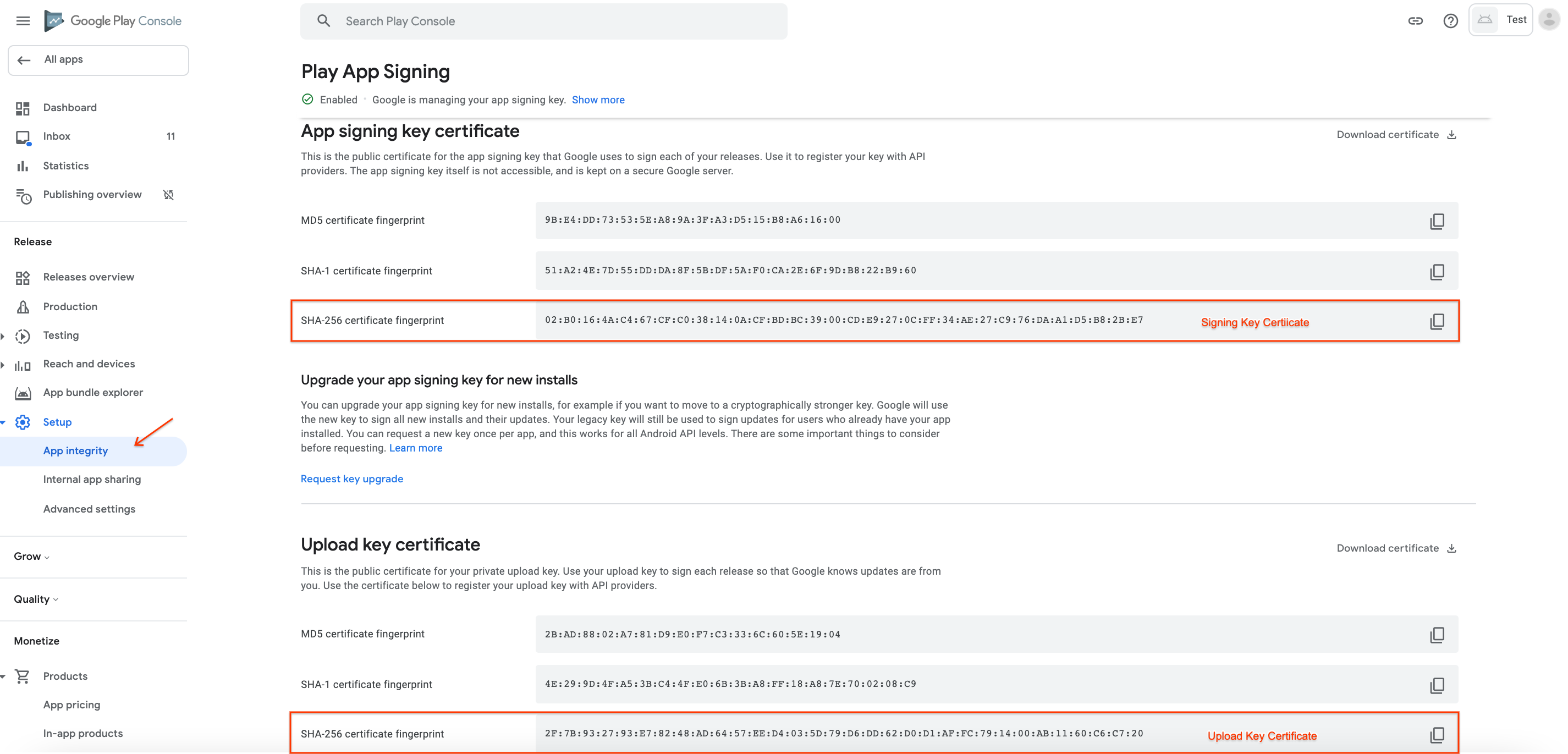 Retrieve the appropriate SHA256 certificate fingerprint for your signing or upload key