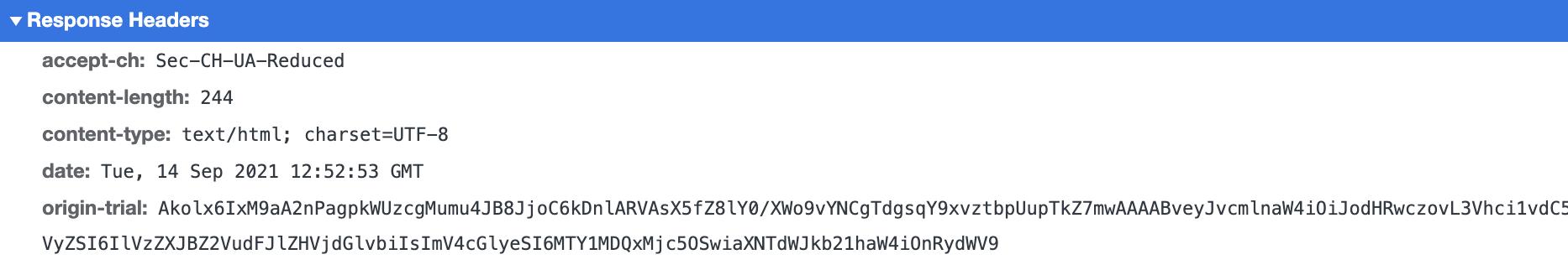 Initial response's headers containing the origin-trial token.